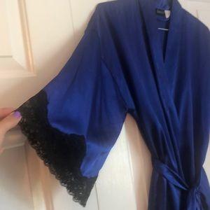 Federick's of Hollywood Blue Satin mini robe